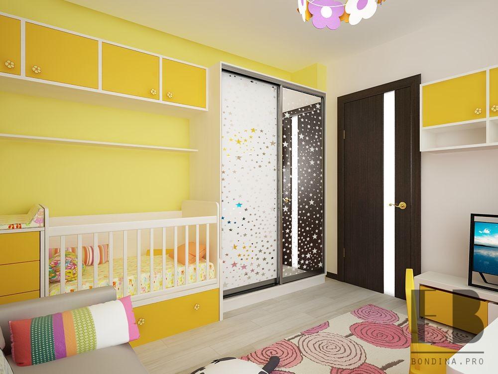 Спальня для девочки в желтых тонах