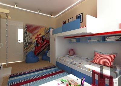 Современный интерьер спальни для двух мальчиков