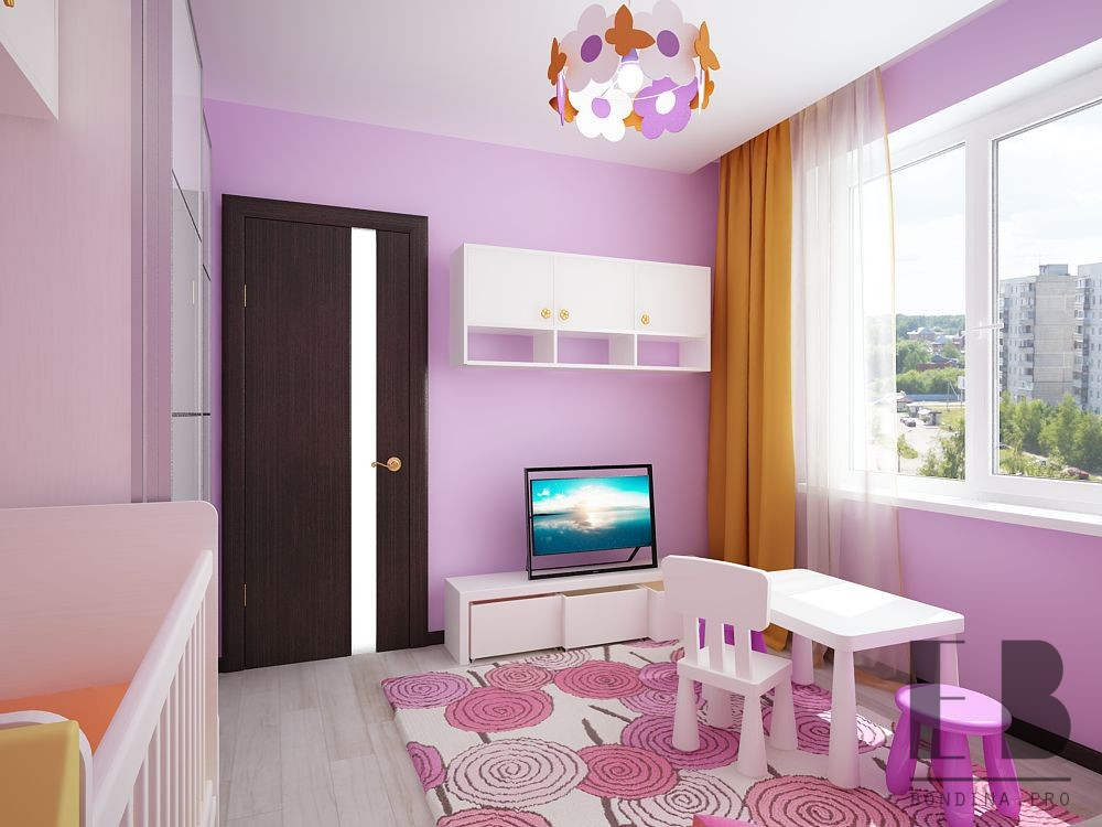 Modern room interior for a girl