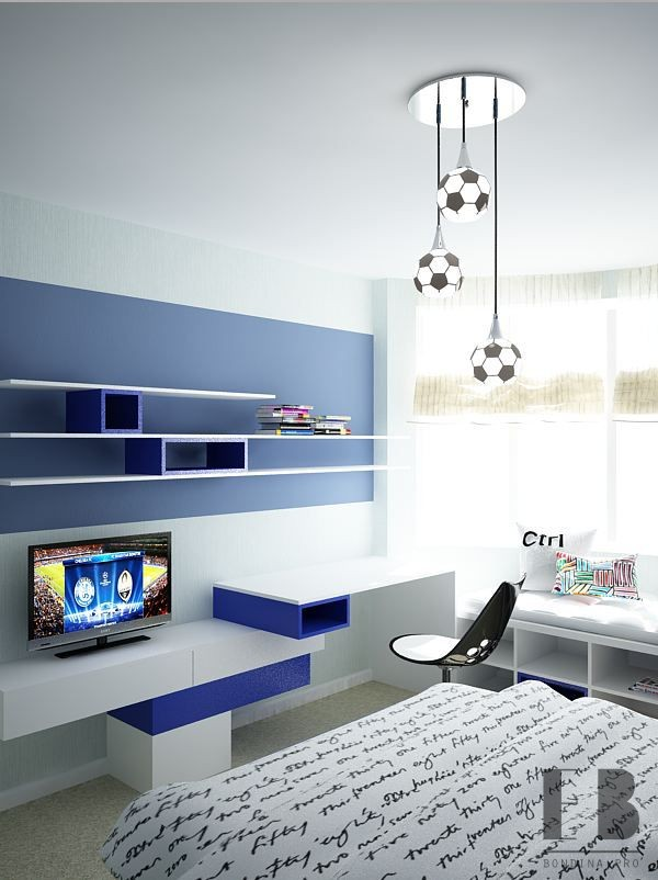 Children's room in blue interior design