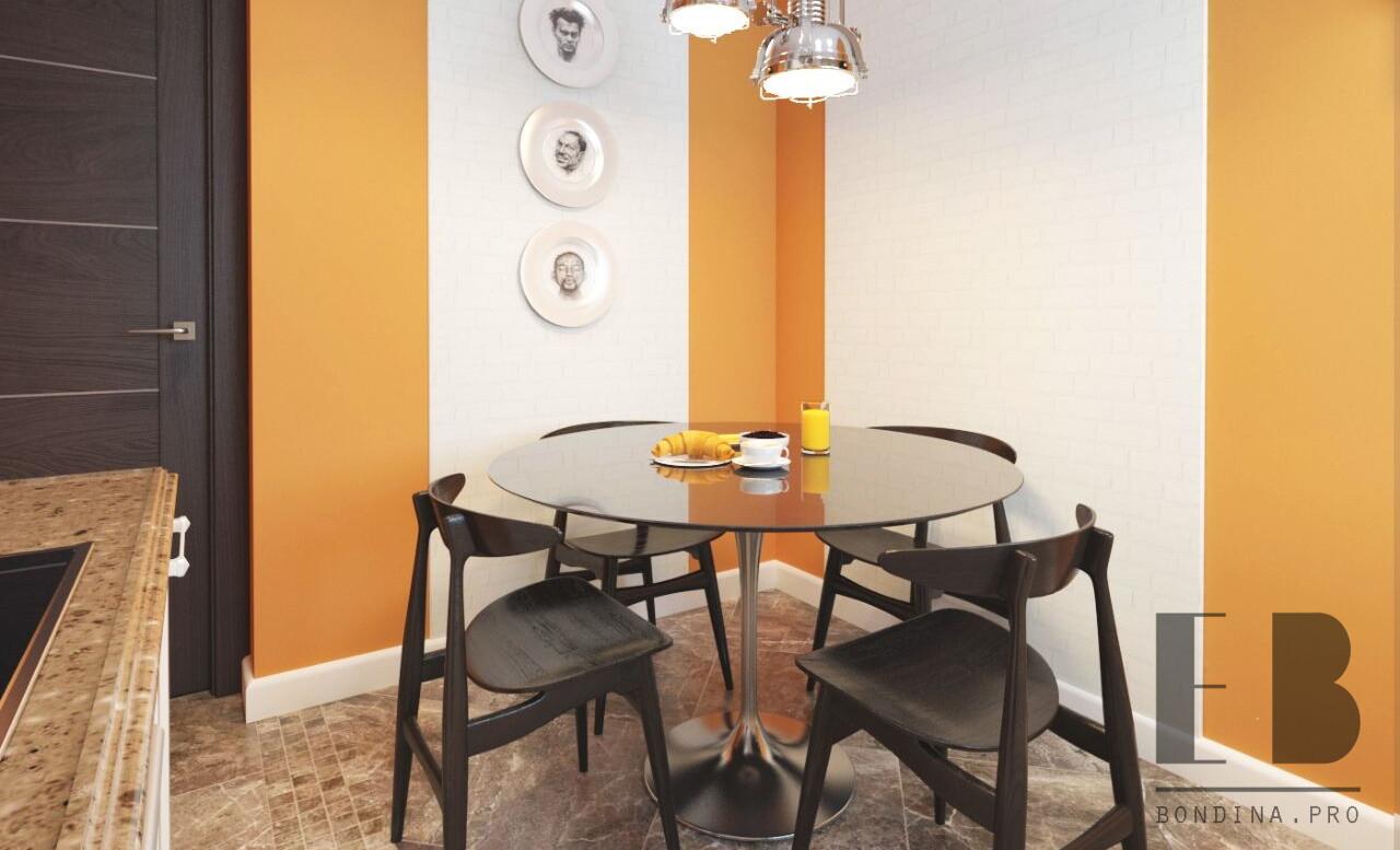 Contemporary orange kitchen with white cabinets design