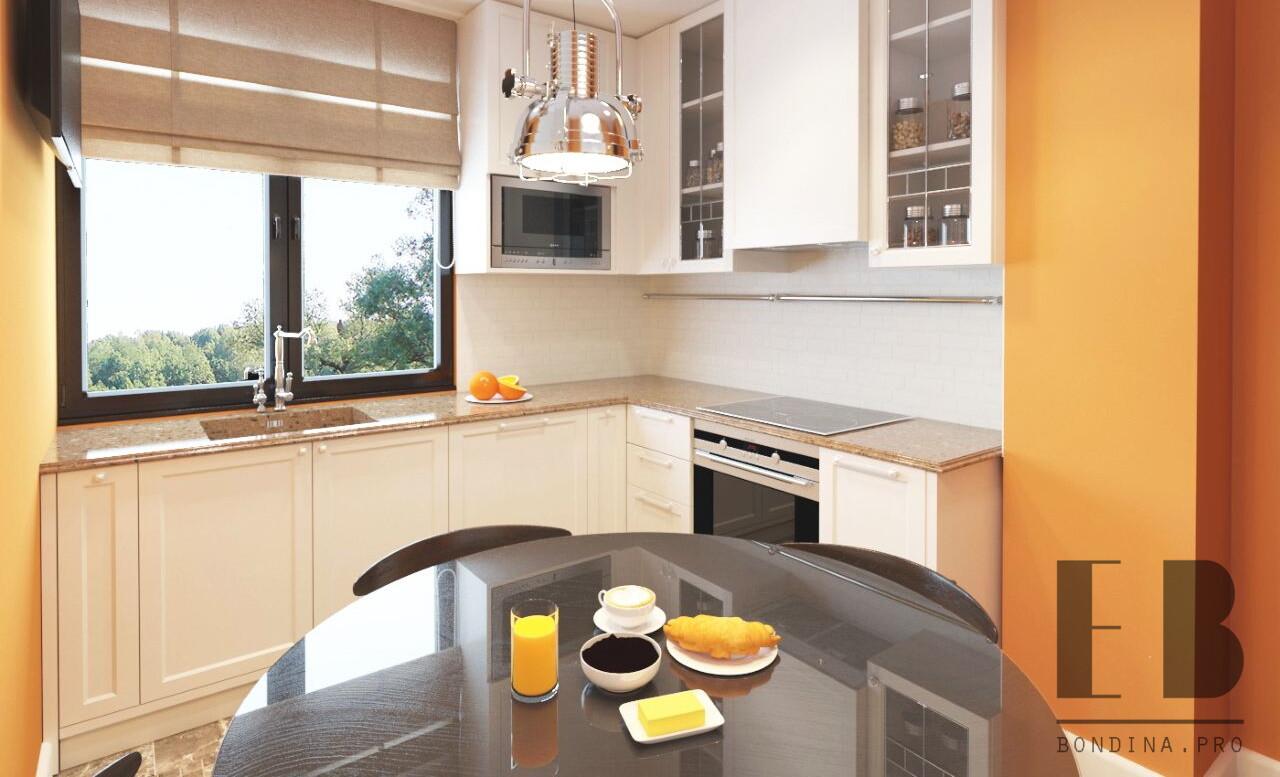 Modern kitchen design with orange accents
