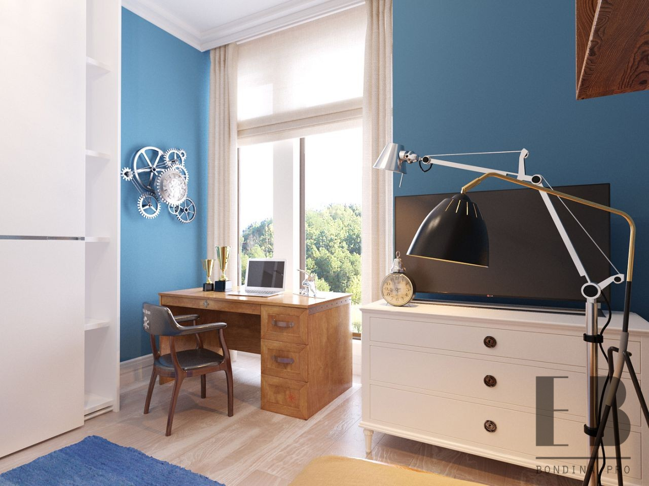 Contemporary blue boys room design