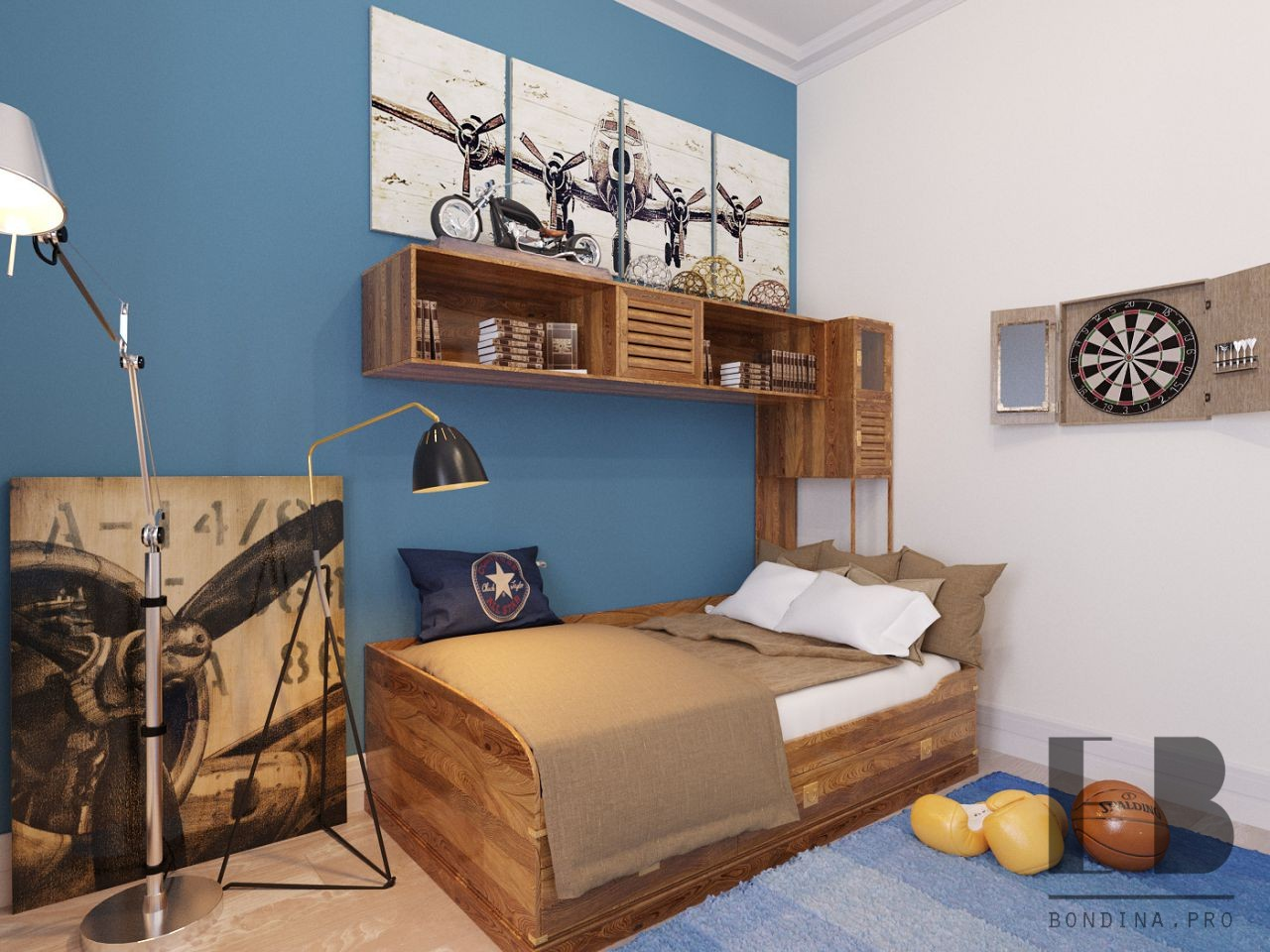 Children's room interior with appliances