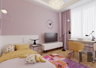 Purple bedroom design for teenage girls