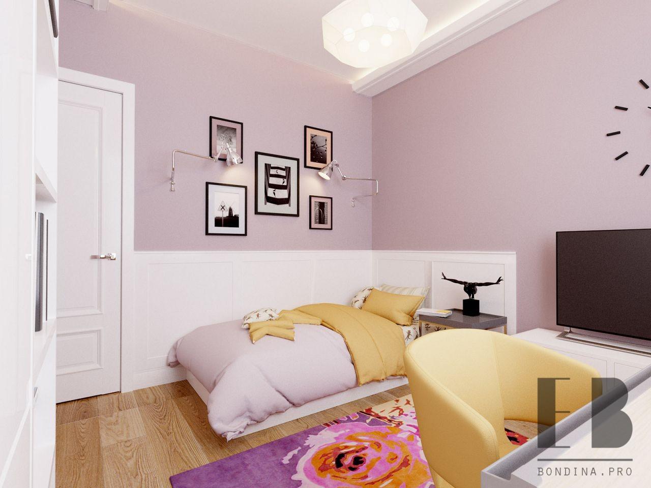 Лиловая комната для подростка девочки