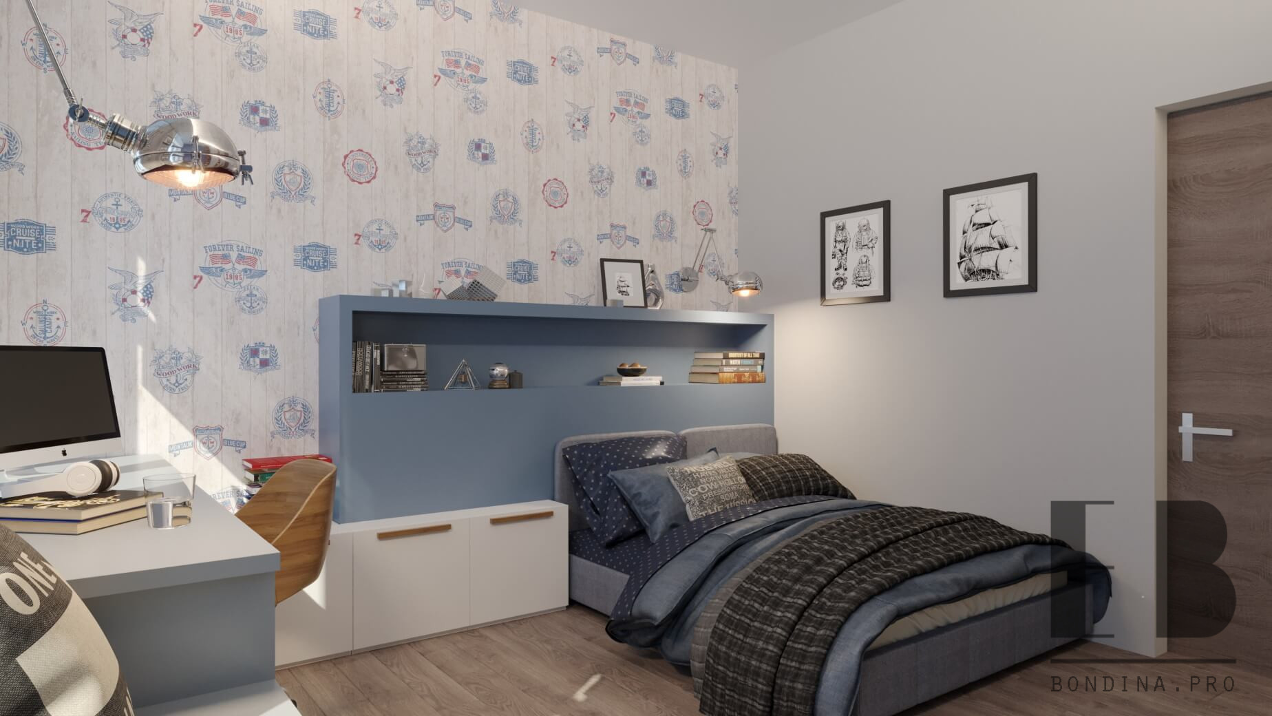 Modern nautical themed children room in white and blue