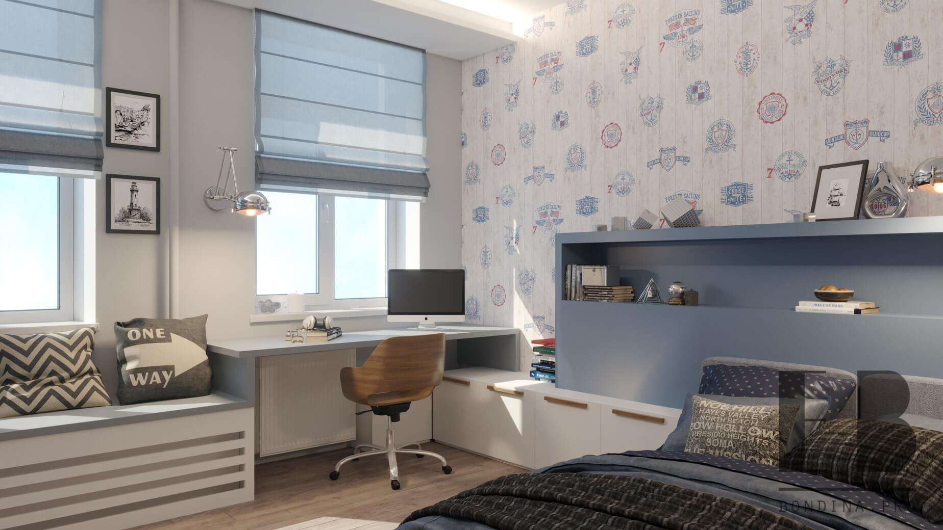 Nautical themed bedroom for boy