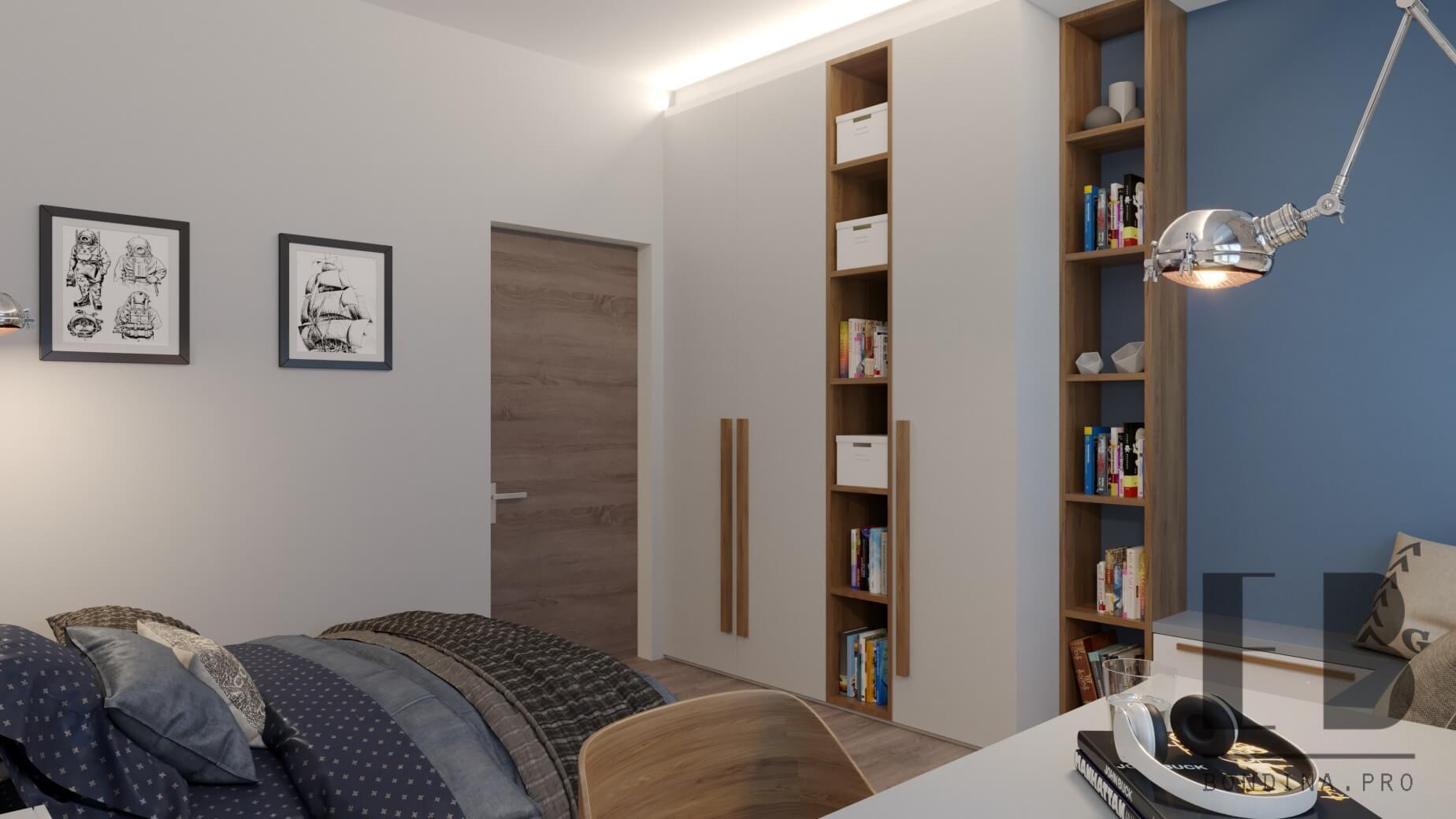 Nautical themed children bedroom with open shelves