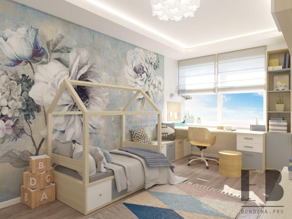 Детская комната с цветочной стеной дизайн