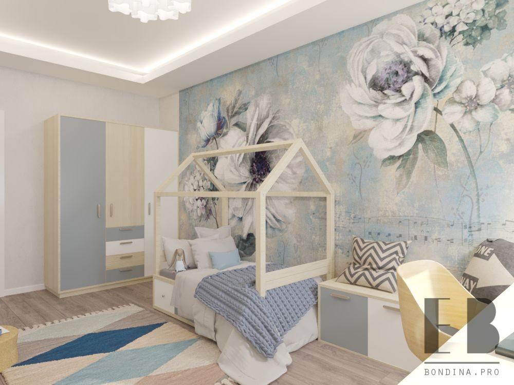 Комната для девочки с кроватью домиком дизайн