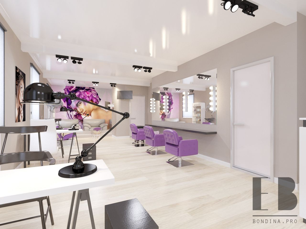 Beauty salon design in bright colors