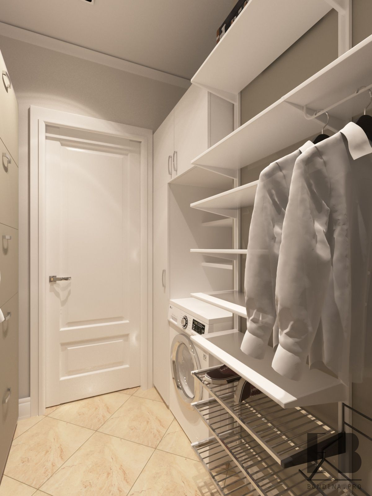 Wardrobe in white colors design