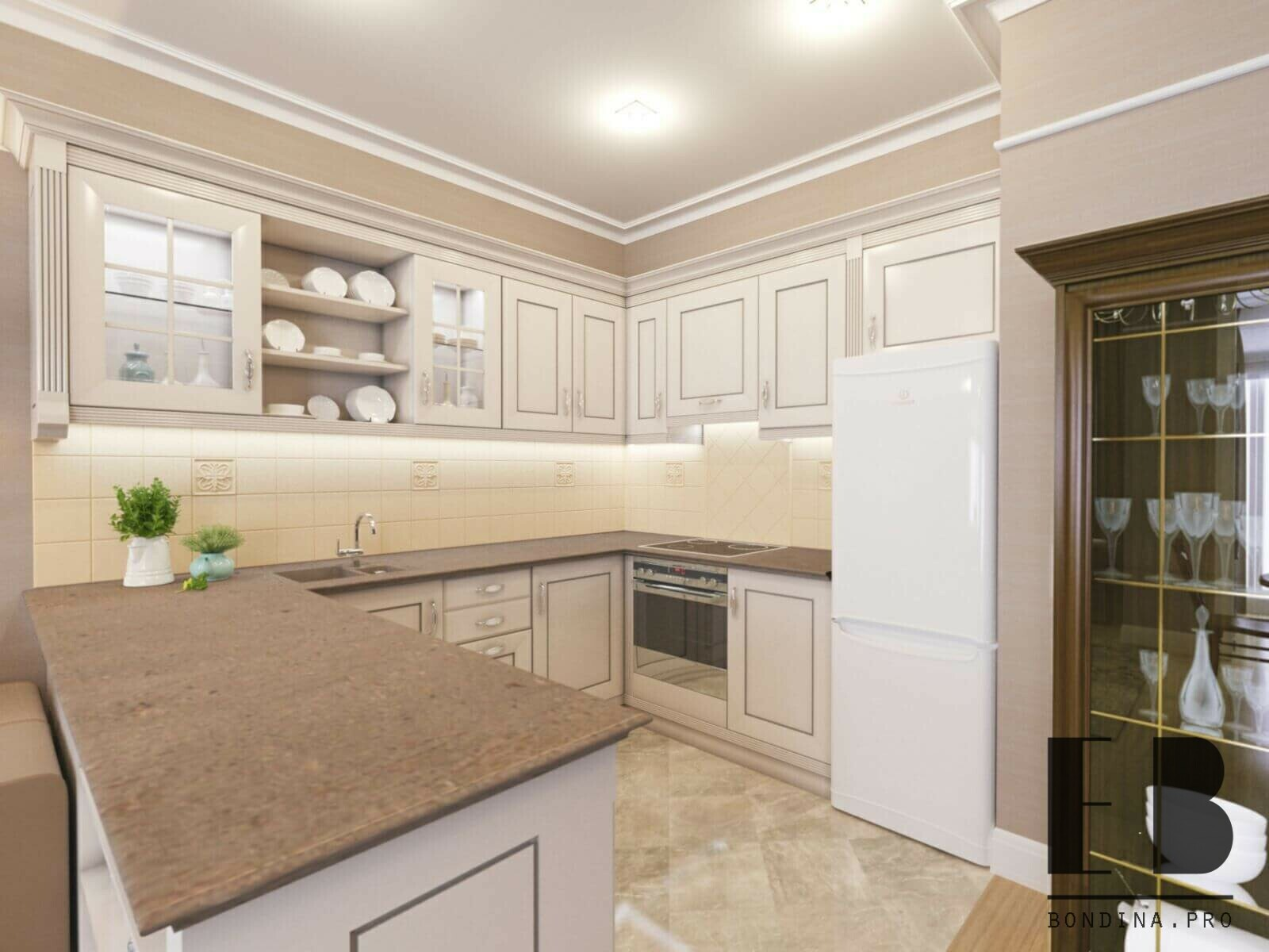 Classic style kitchen design with white cabinets