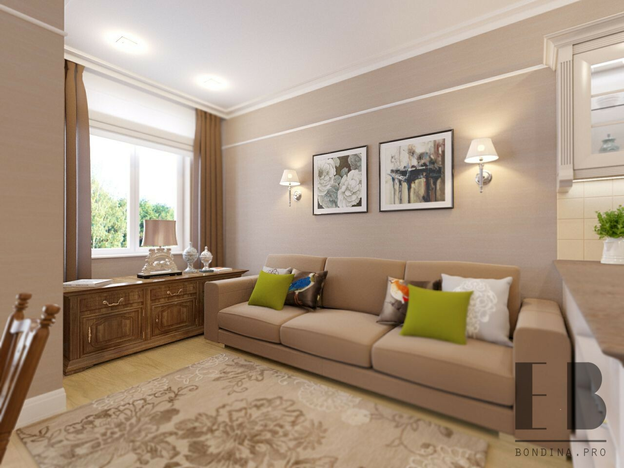 Small Living Room in Beige Color with Beige Sofa and wooden low chest of drawers