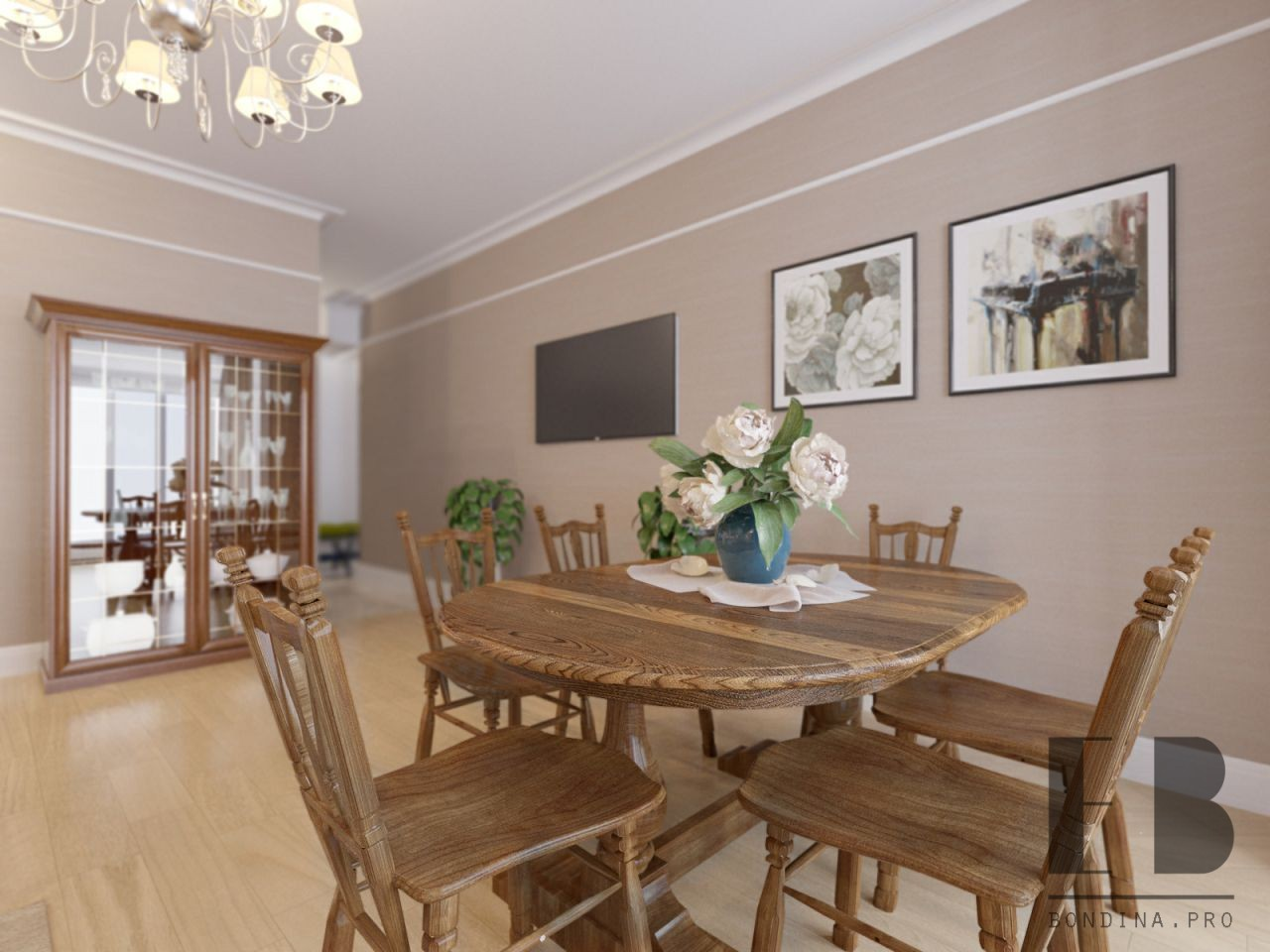 Dining room design in beige color with wooden capboard, table and chairs