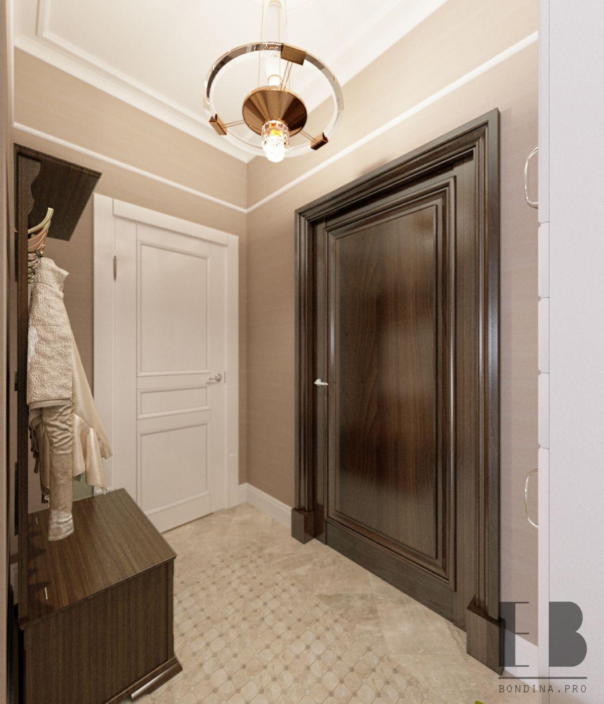 Small hallway in bright colors interior design
