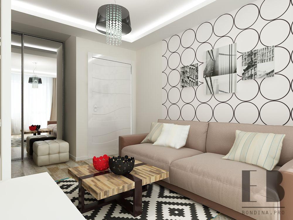 Living room in a studio apartment design
