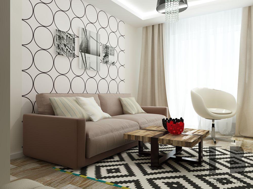 Living room design in white