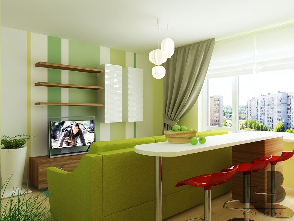 Kitchen-living room combo design in lime color