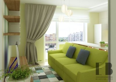 Studio apartment interior design with green accents