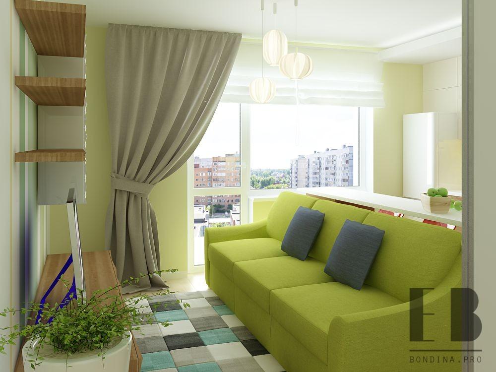 Studio apartment interior design with green accents