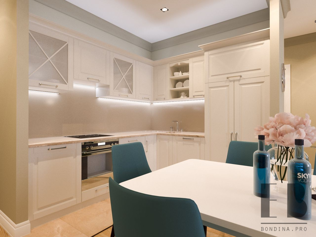 White traditional kitchen cabinets with beige walls