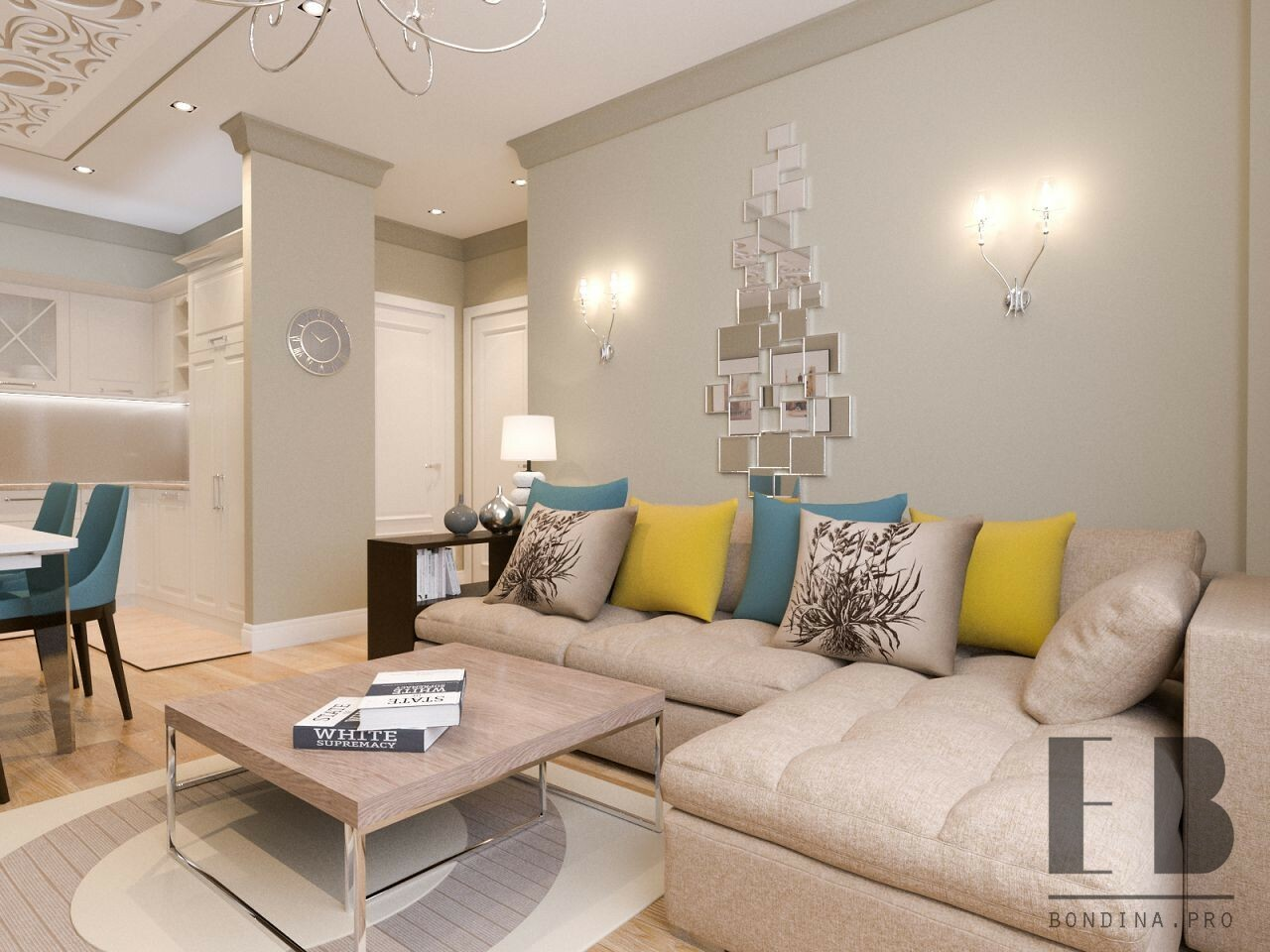 Traditional living room design with beige corner sofa and bright cushions
