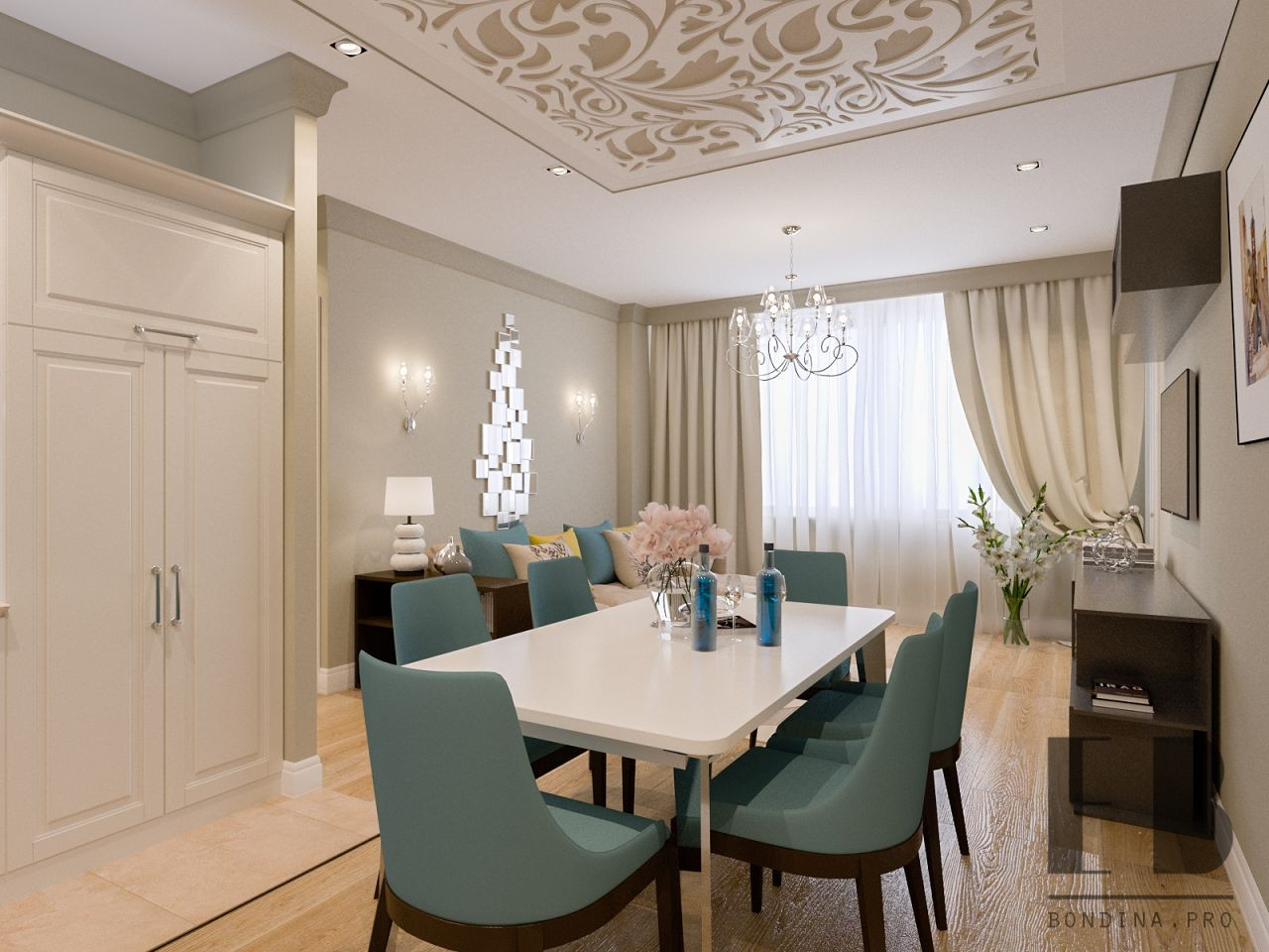 Beautiful and Tender dining room interior in beige and blue colors