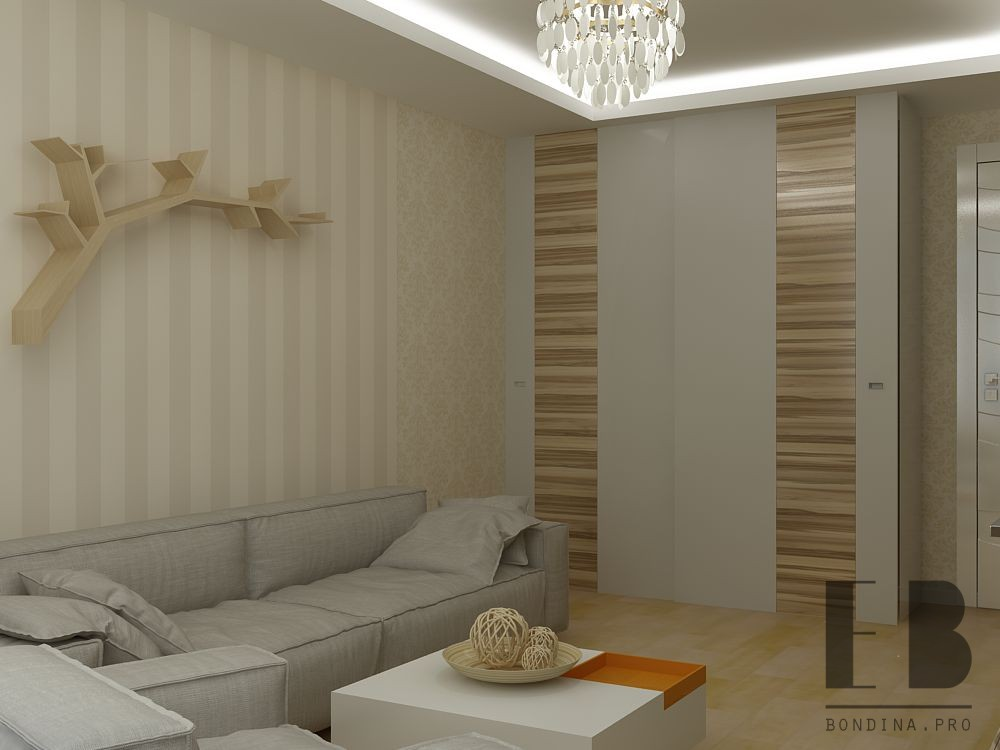 Гостиная в спокойных пастельных тонах дизайн