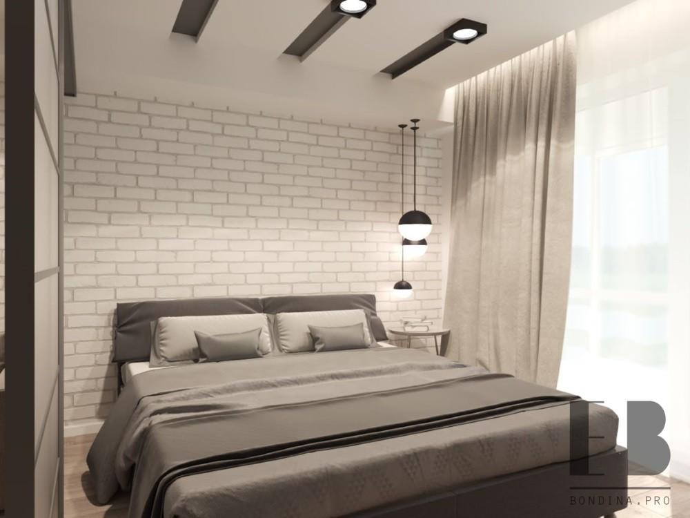 Спальня с кирпичной кладкой дизайн