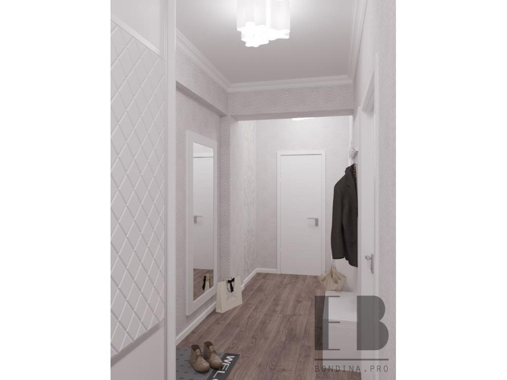 Белая прихожая с большим зеркалом интерьер