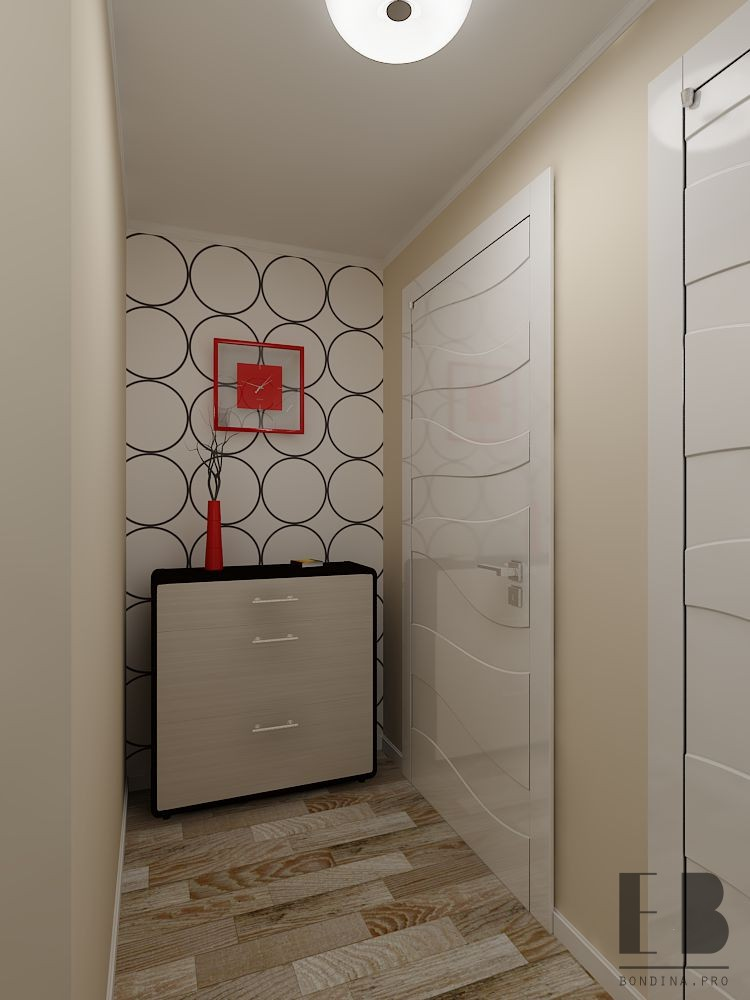Entrance hall interior in a studio apartment