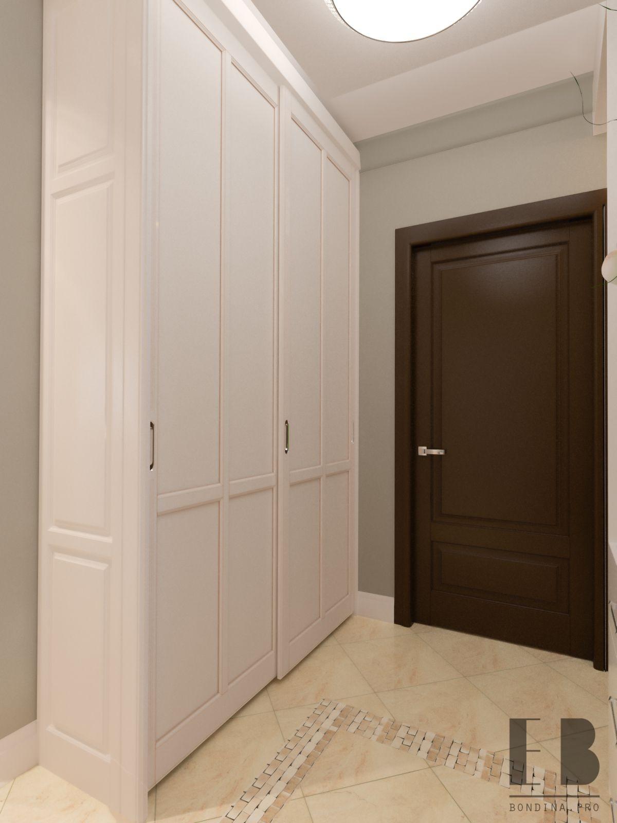 Hallway design with a large closet
