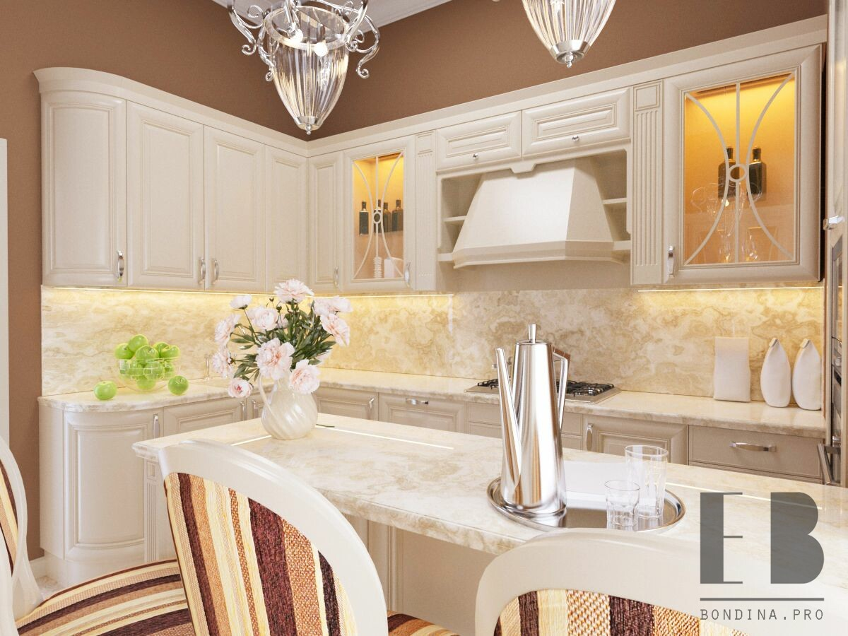 Luxury terracotta kitchen design with white kitchen cabinets