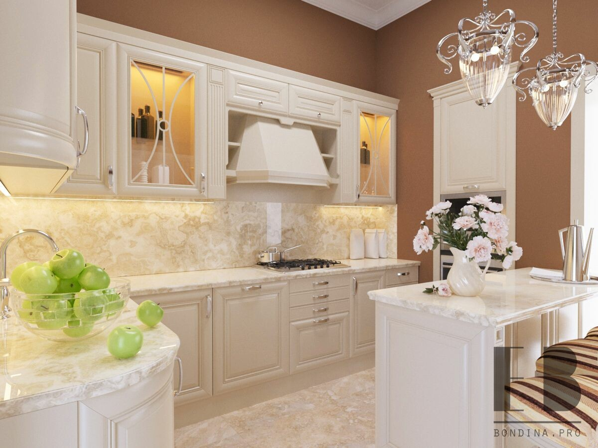Kitchen design in a modern classic style