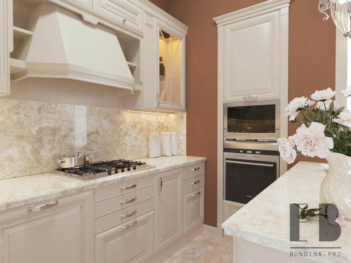 Classic white kitchen interior design