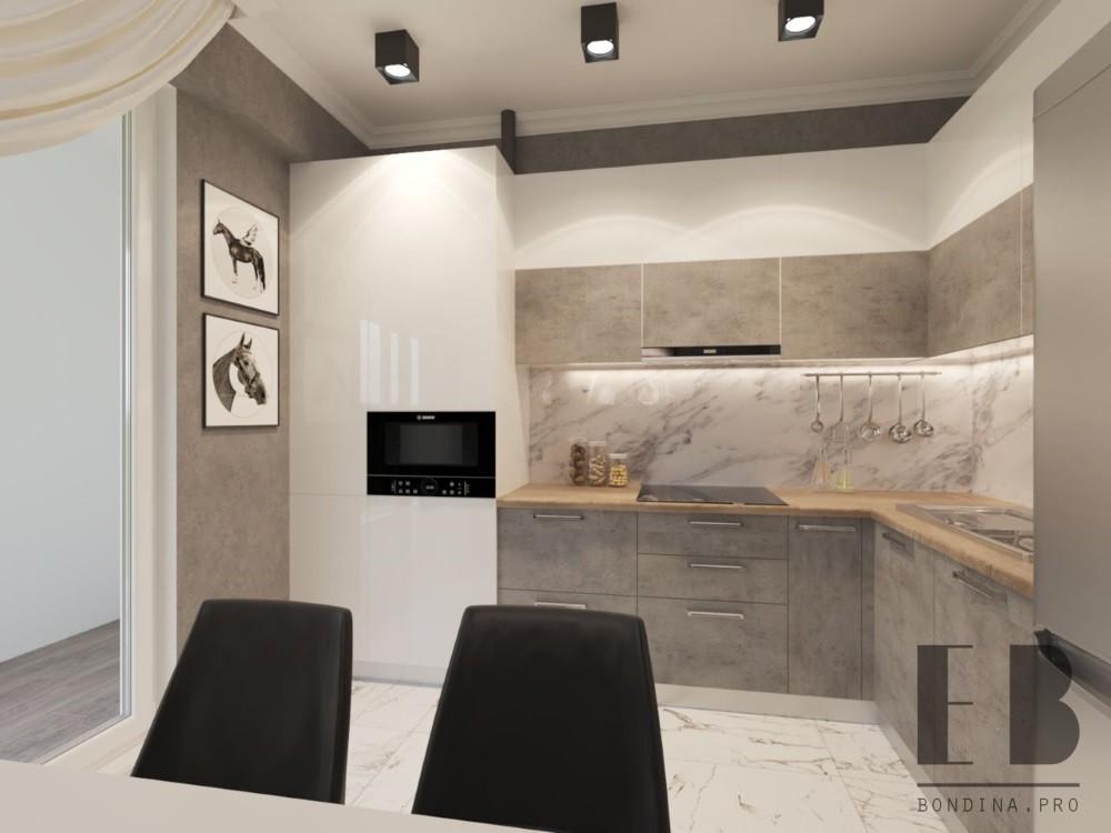 Дизайн кухни с бело серой мебелью
