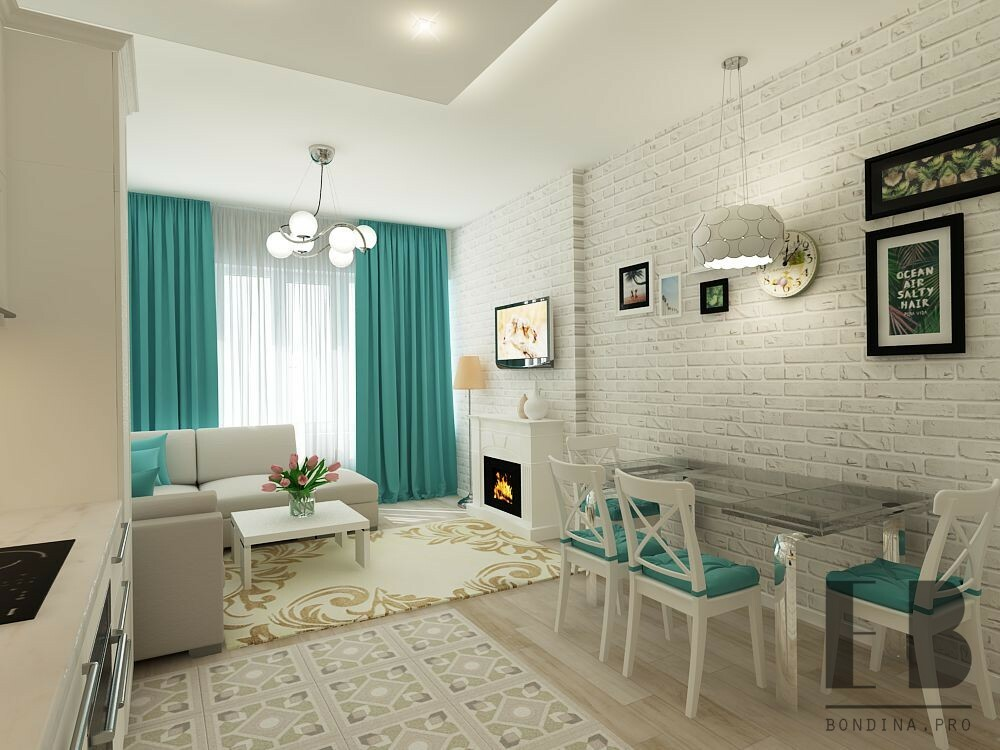 Kitchen living room design in white