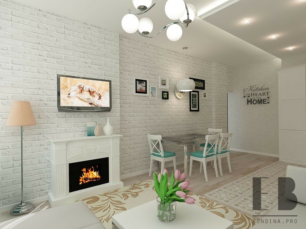 Fireplace in a small living room interior design
