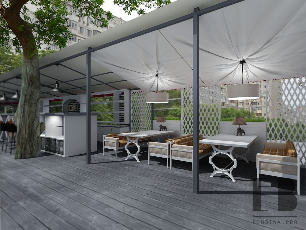 Design of a terrace for guest space