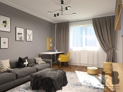 Grey and white apartment interior design