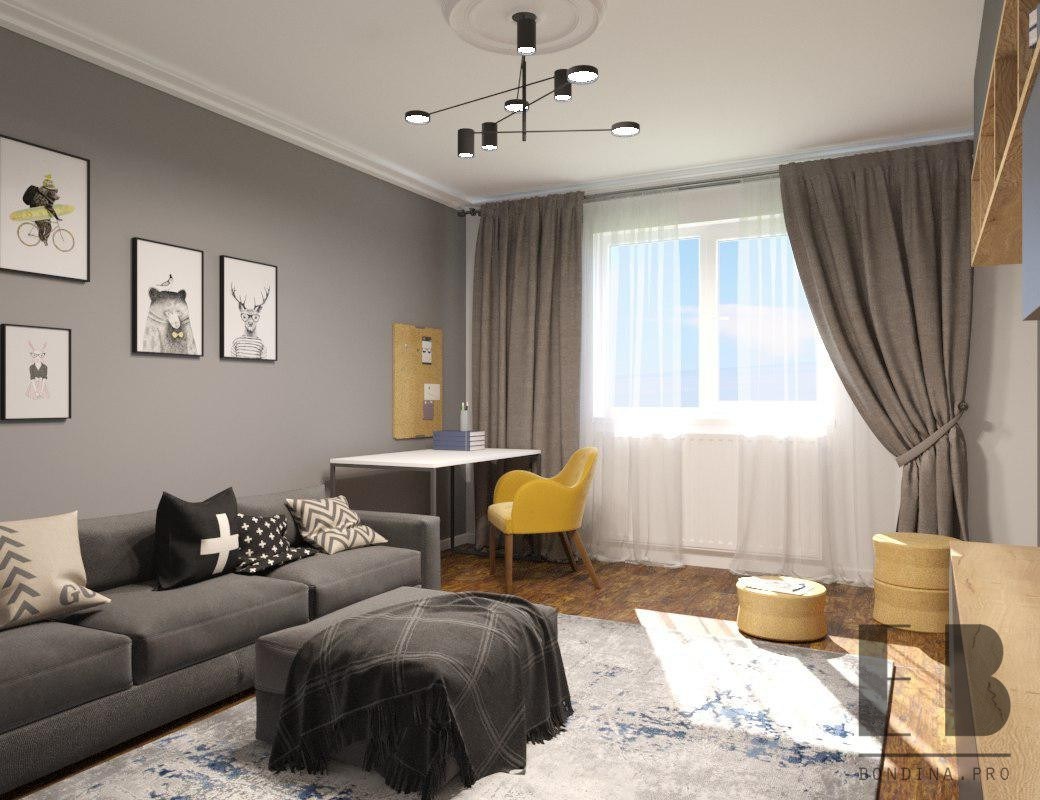 Workplace in the living room interior design