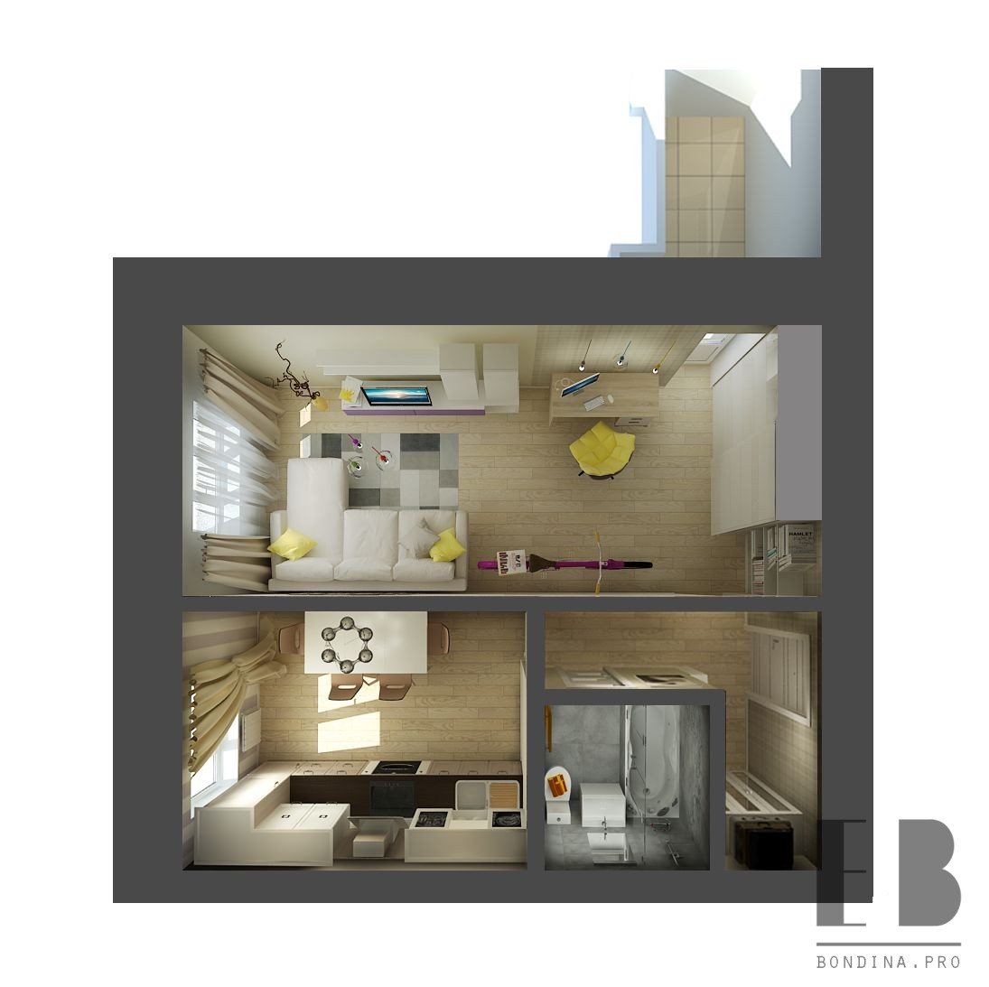 One-room apartment project
