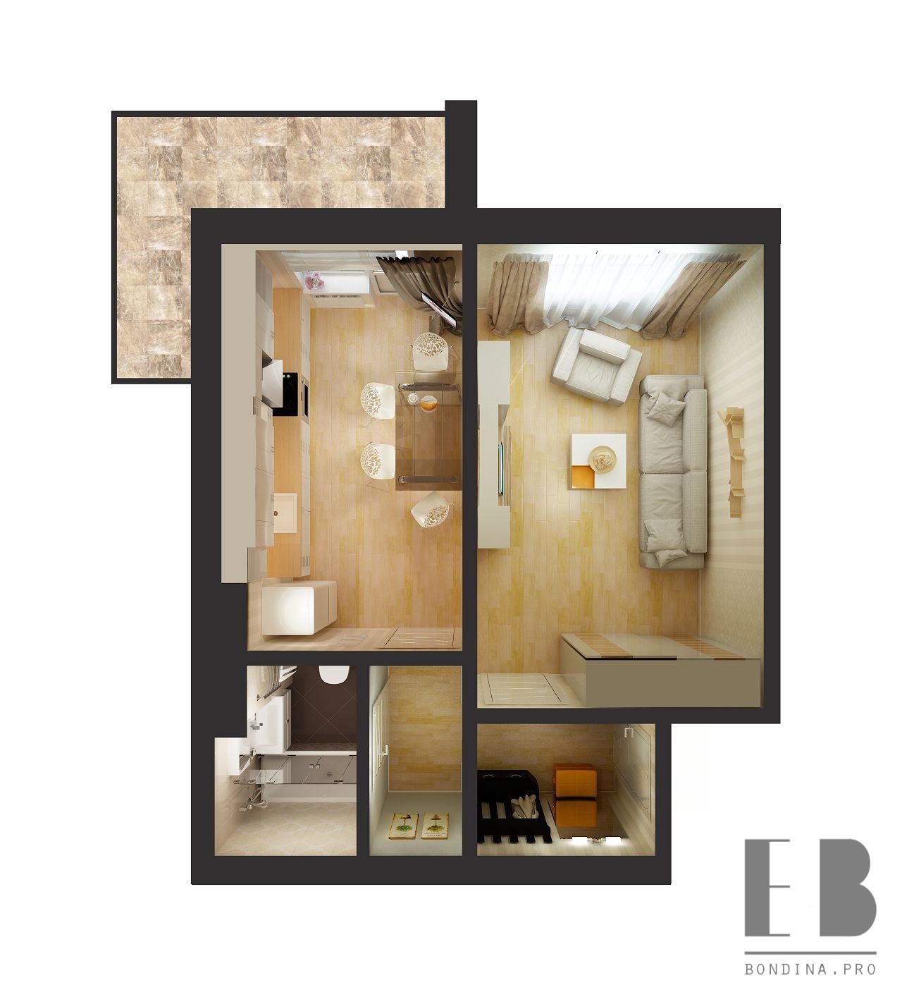 Проект однокомнатной квартиры с отдельной кухней