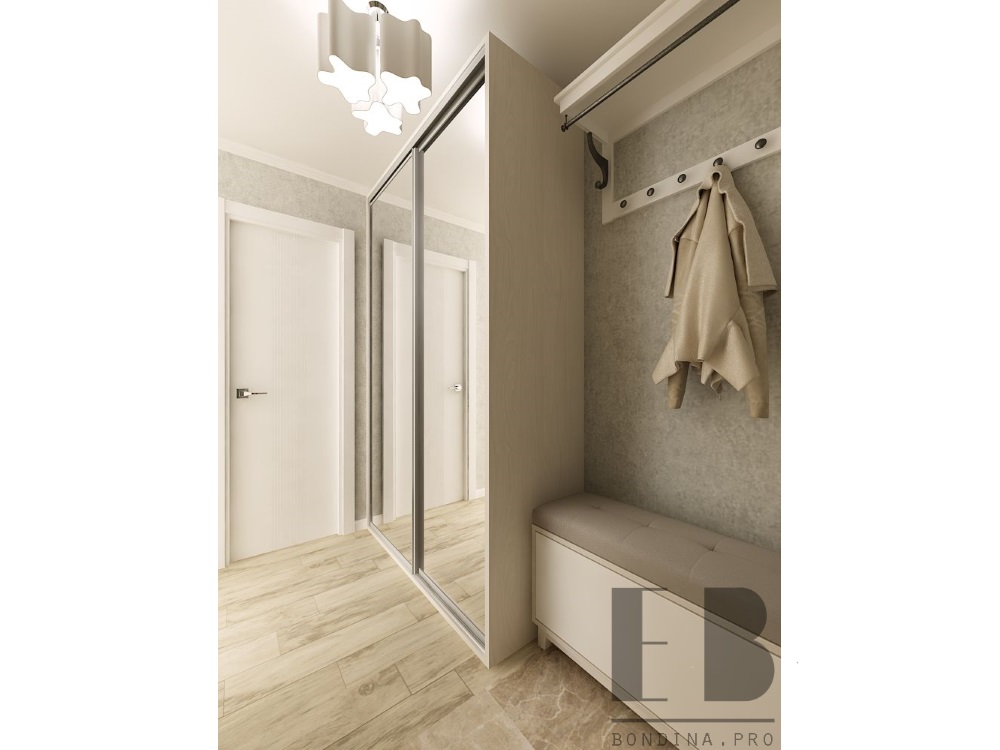 Design hallway with wardrobe
