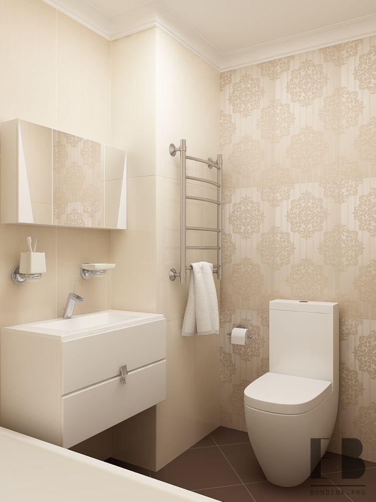 Ванная комната с зеркальной тумбой дизайн