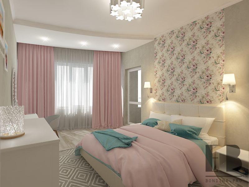 Бело-розовая спальня дизайн