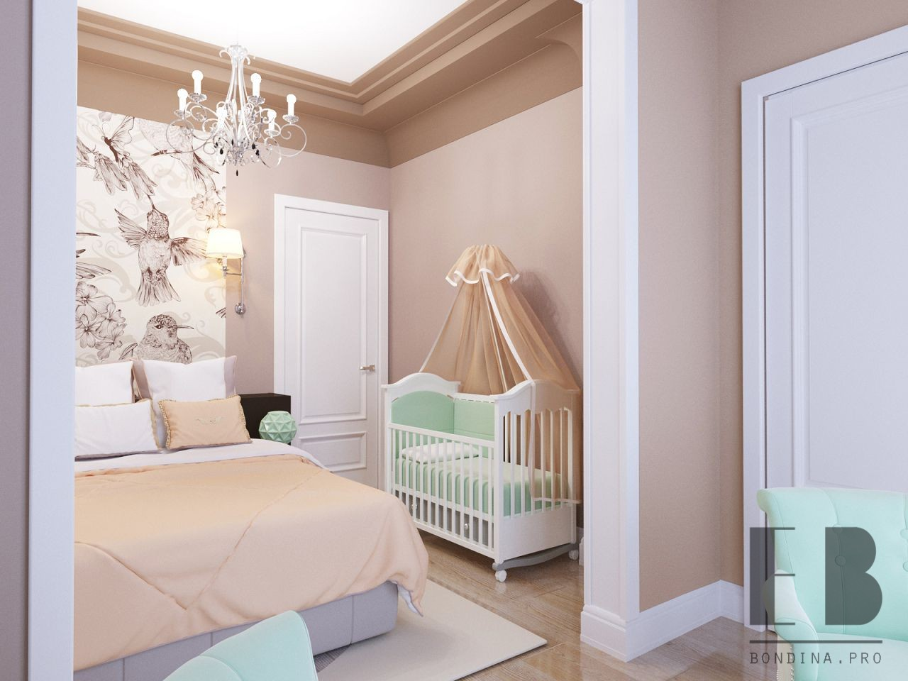 Bright bedroom design for parents and baby