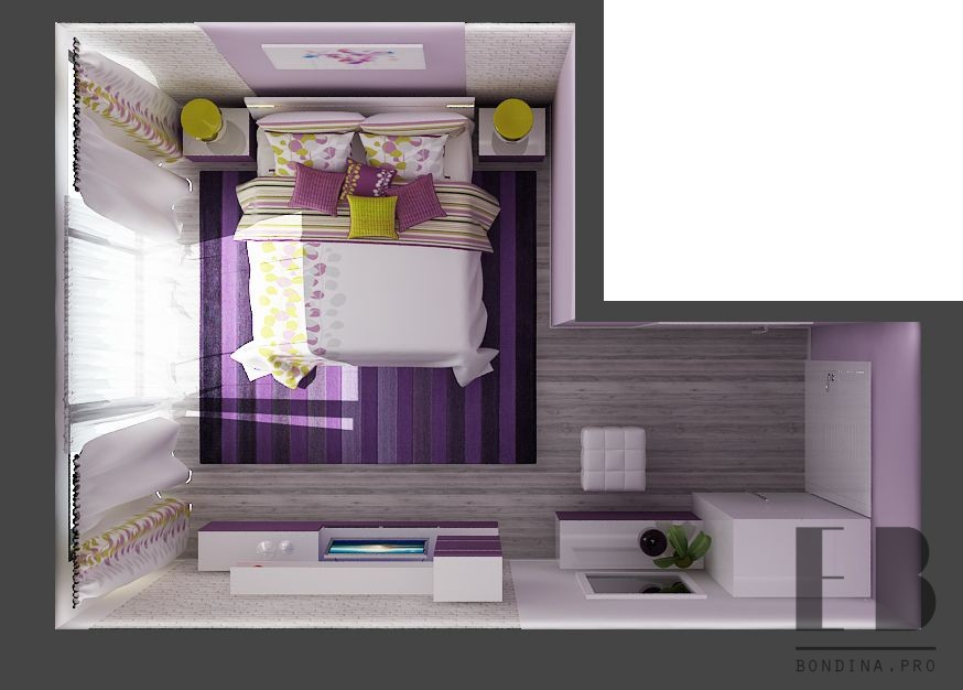 Bedroom design in purple